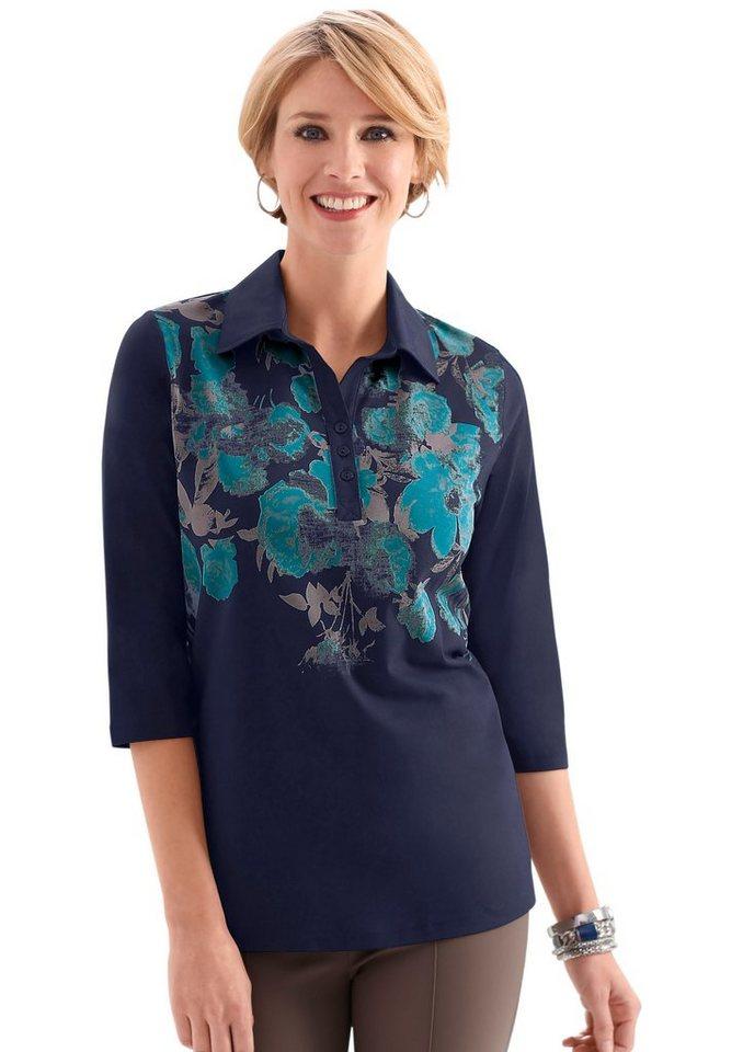 Classic Basics Poloshirt mit floralem Muster in grau-meliert bedruckt