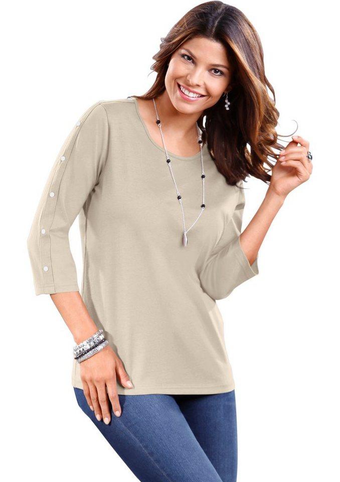 Classic Basics Shirt mit Zierknöpfen in beige