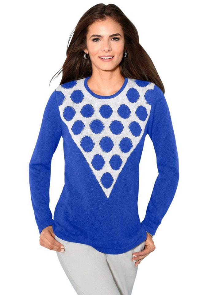 Classic Basics Pullover mit Intarsienmuster in blau