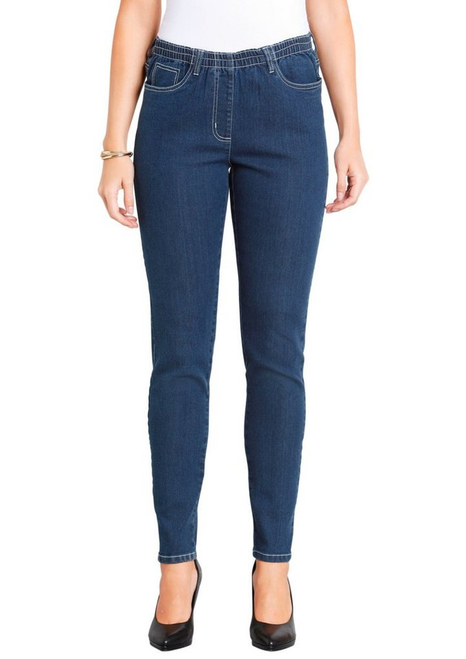 Classic Basics Jeans in bequemer Schlupfform in blue-stone-washed