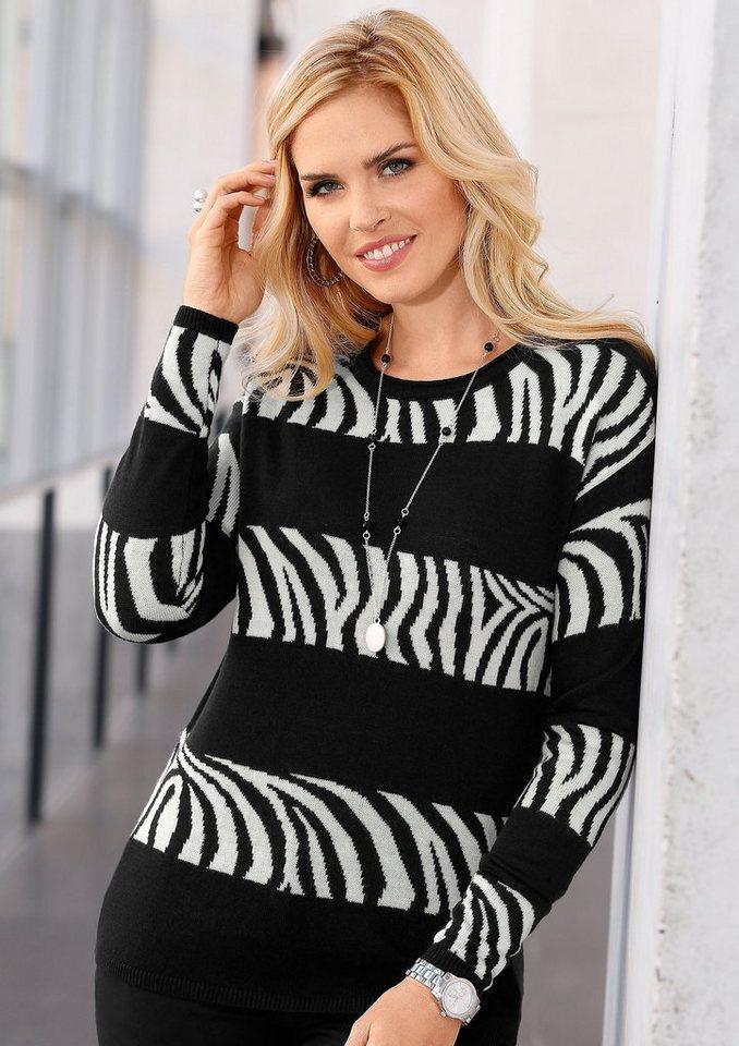 Classic Basics Pullover im Zebra-Dessin in schwarz-weiß