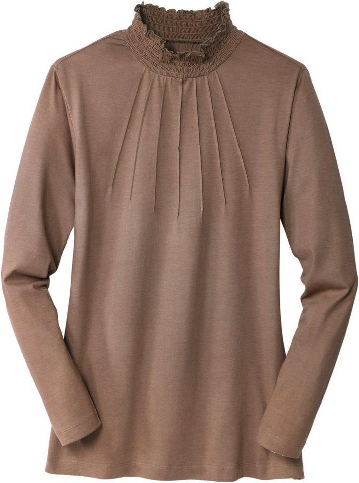 Classic Basics Shirt mit gesmokten Stehkragen in taupe