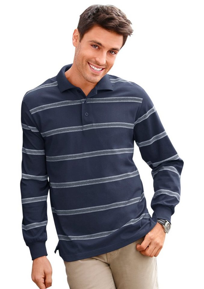 Classic Basics Poloshirt in Single-Jersey in marine-weiß