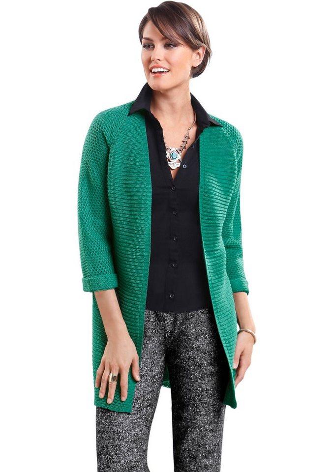 Classic Basics Long-Strickjacke mit Raglan-Ärmeln in smaragdgrün
