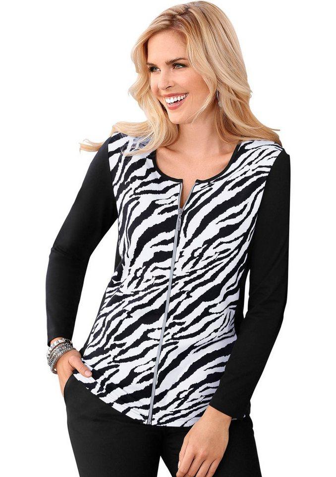 Classic Basics Shirtjacke im Zebra-Dessin in schwarz-weiß