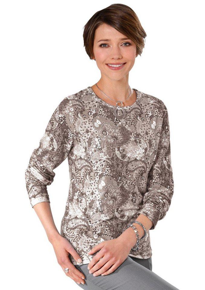 Classic Basics Winter-Shirt in attraktivem Paisleydessin in taupe-bedruckt