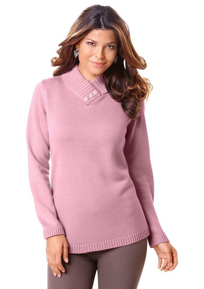 Classic Basics Pullover mit schimmernden Zierknöpfen in rosé