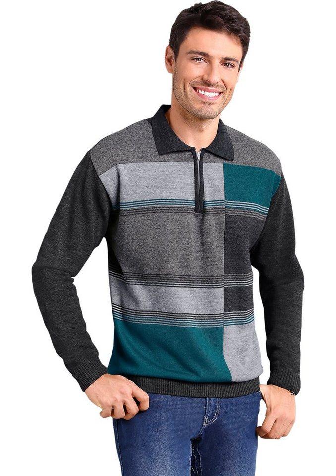 Classic Basics Pullover mit geripptem Polokragen in anthrazit-petrol