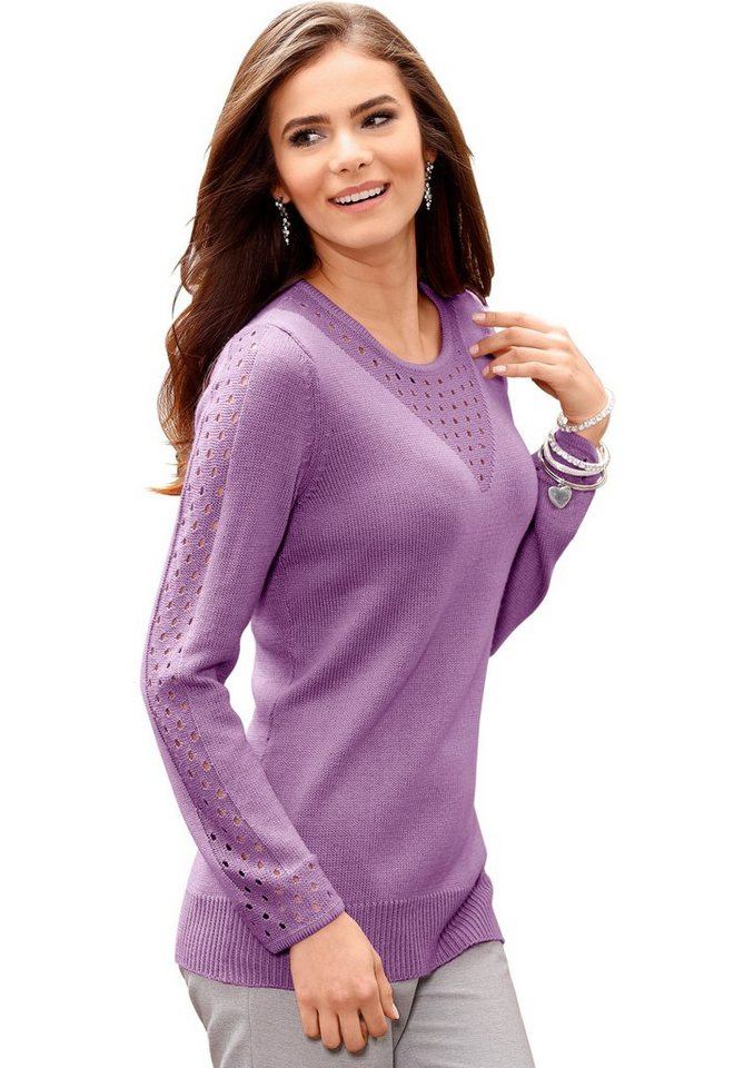 Classic Basics Pullover mit Ajourmuster am Rundhals-Ausschnitt in mauve