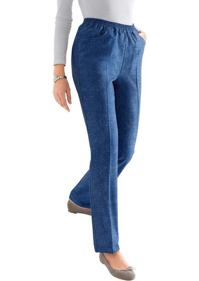 Classic Basics Hose in Jeans-Optik in dunkelblau-bedruckt