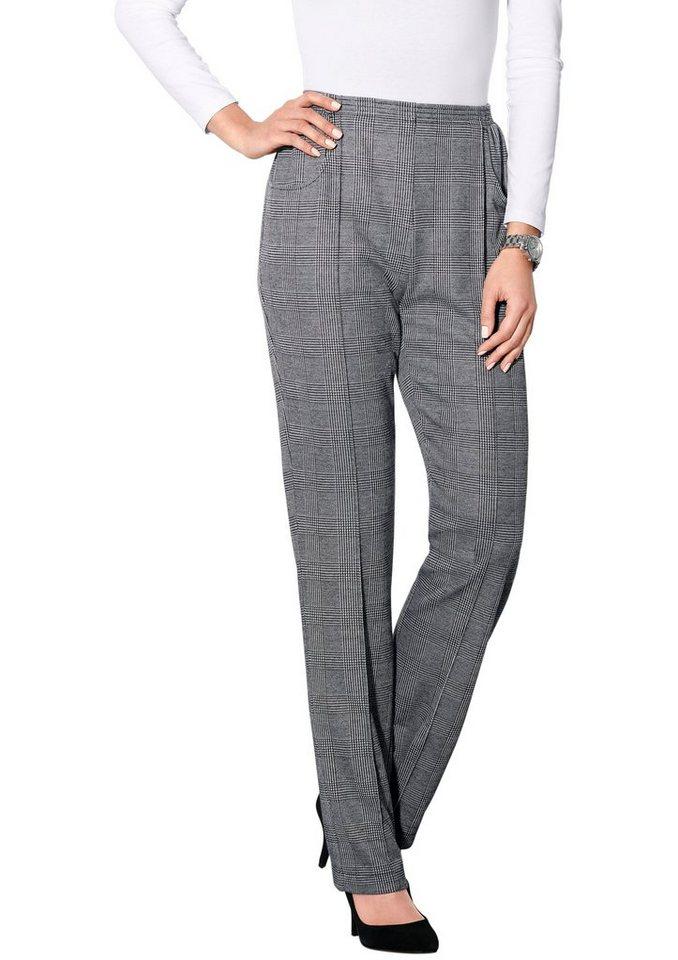 Classic Basics Hose mit abgesteppter Bügelfalte in schwarz-weiß Glencheck