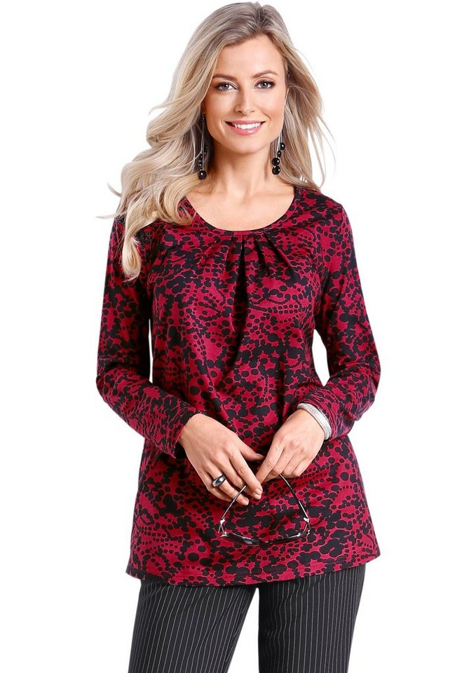 Classic Basics Longshirt in leichter A-Form in rot-schwarz