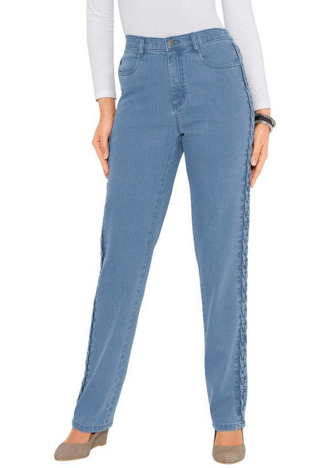 Classic Basics Jeans mit Zopfverzierung entlang der Seitennaht in blue-bleached