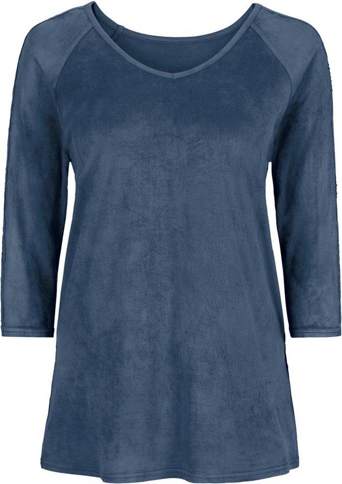 Classic Basics Shirt in edler Veloursleder-Optik in ecru