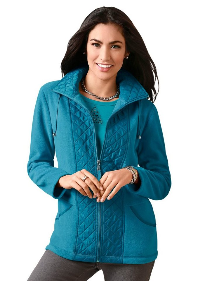 Classic Basics Fleece-Jacke mit schimmernden Stepp-Akzenten in petrol