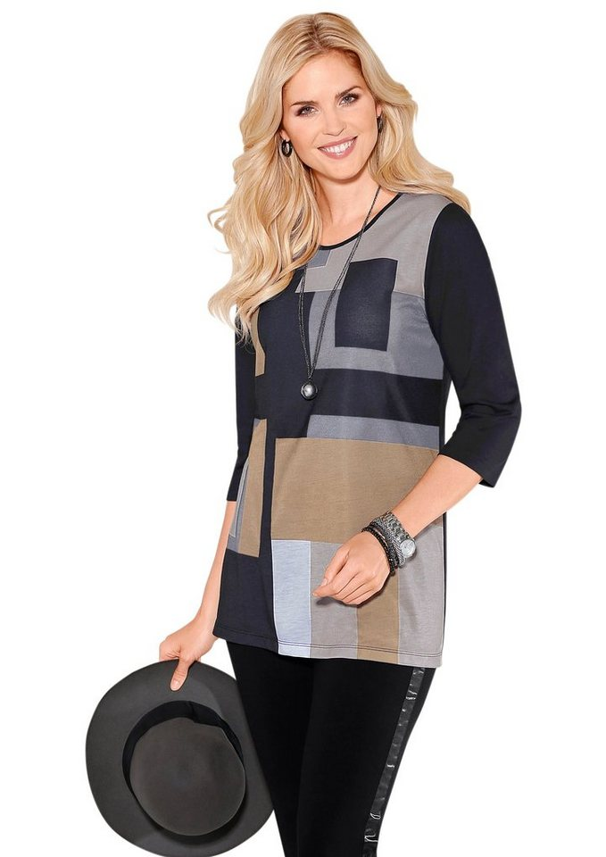 Classic Basics Longshirt mit sportivem Colour Blocking-Druck in camel-gemustert