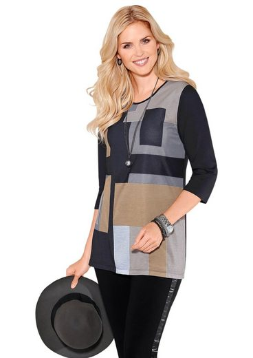 Classic Basics Longshirt mit sportivem Colour Blocking-Druck