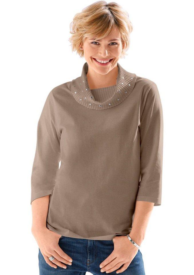 Classic Basics Shirt mit funkelnden Steinchen in taupe
