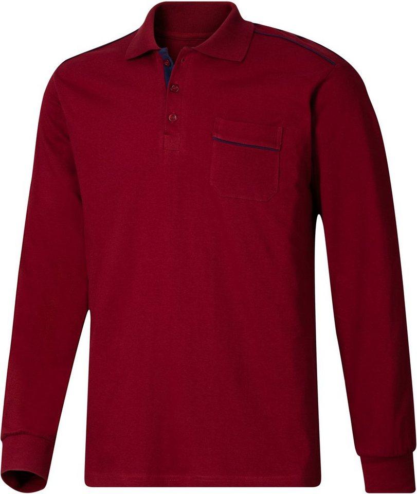 Classic Basics Poloshirt mit kontrastfarbenen Paspeln im Vorderteil in rot