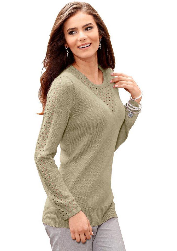 Classic Basics Pullover mit Ajourmuster am Rundhals-Ausschnitt in schilf