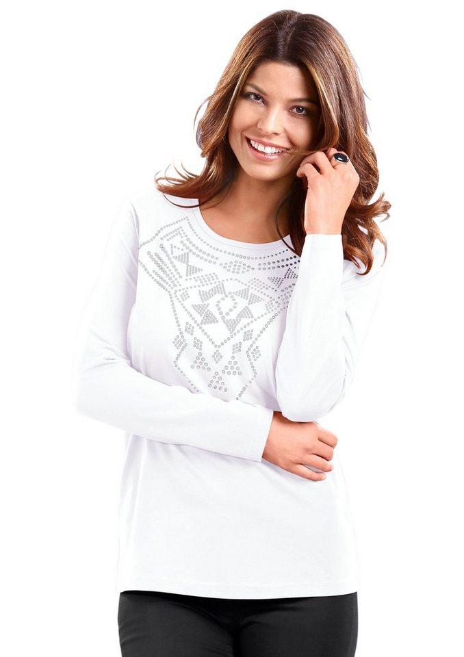 Classic Basics Shirt mit silberglänzendem Druck im Vorderteil in weiß
