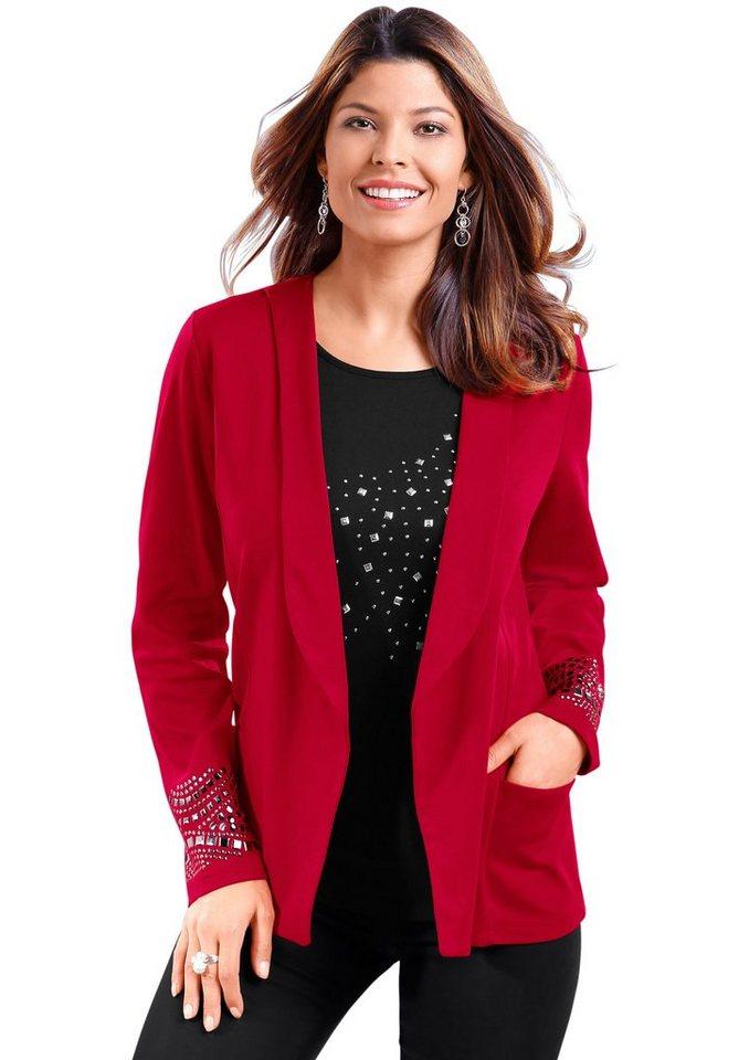 Classic Basics Shirtjacke mit silberfarbigen Zierplättchen in rot
