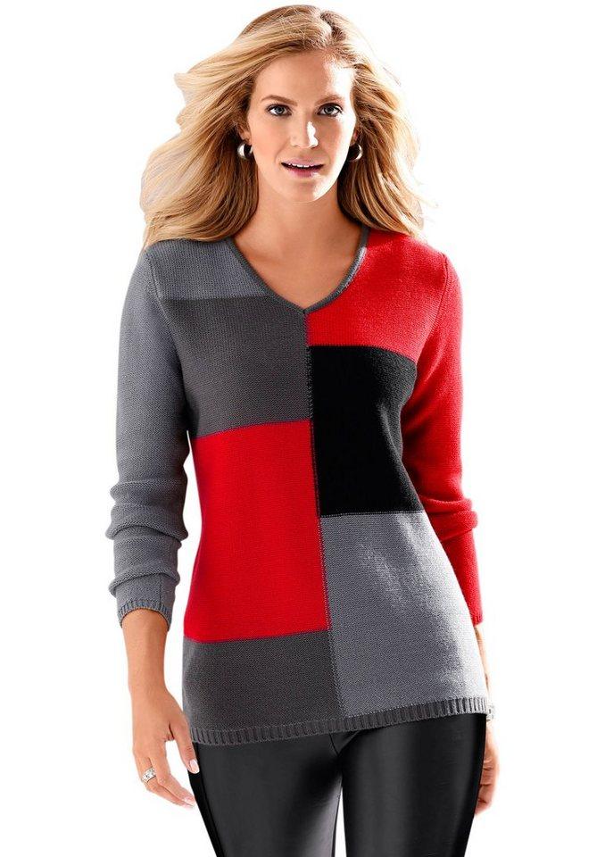 Classic Basics Pullover mit 3-farbigem Muster im Vorderteil in grau-gemustert