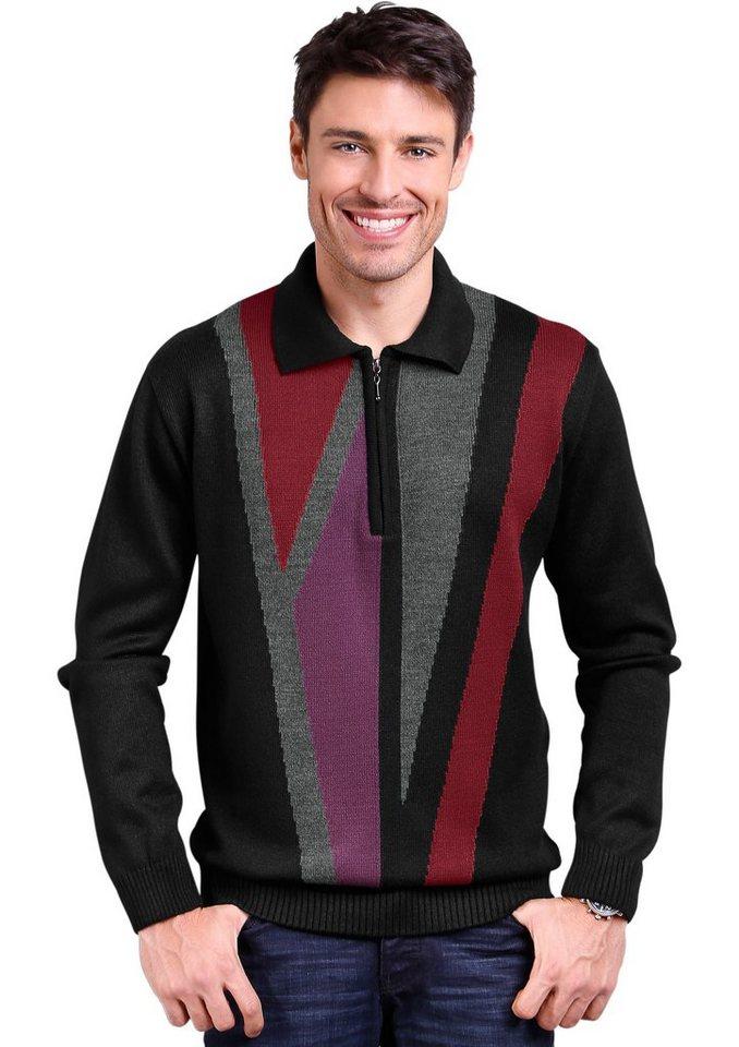 Classic Basics Pullover mit kontrastreichem Strickmuster in schwarz-gemustert