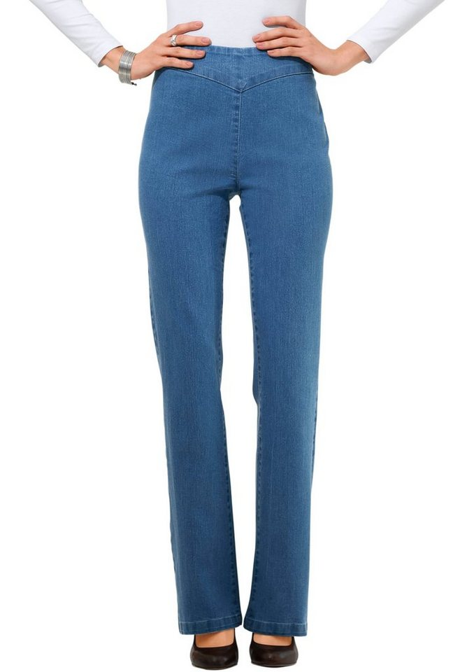 Classic Basics Jeans in Bootcut-Form in blue-bleached