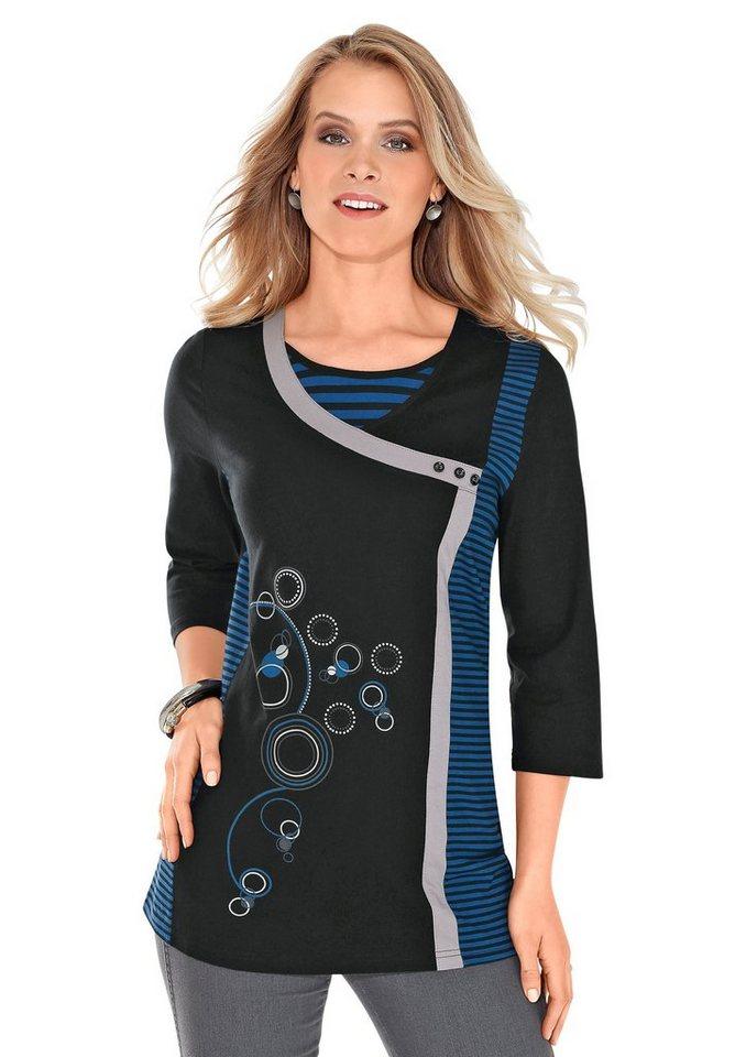 Classic Basics Longshirt mit Dekoknöpfen in schwarz-royal