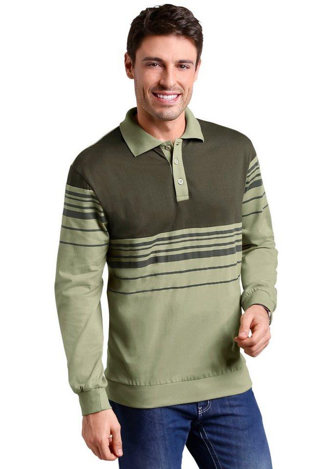 Classic Basics Poloshirt mit modischen Streifen-Muster in grün