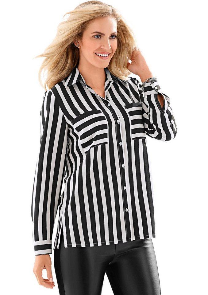 Classic Basics Bluse mit knöpfbaren Manschetten in schwarz-weiß-gestreift