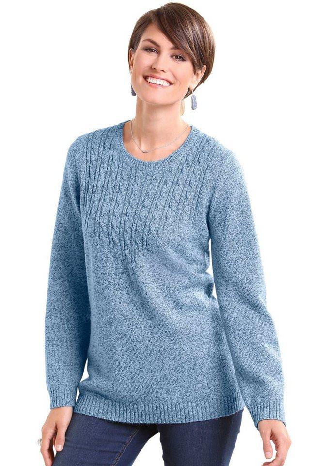 Classic Basics Pullover mit Zopfmuster in hellblau