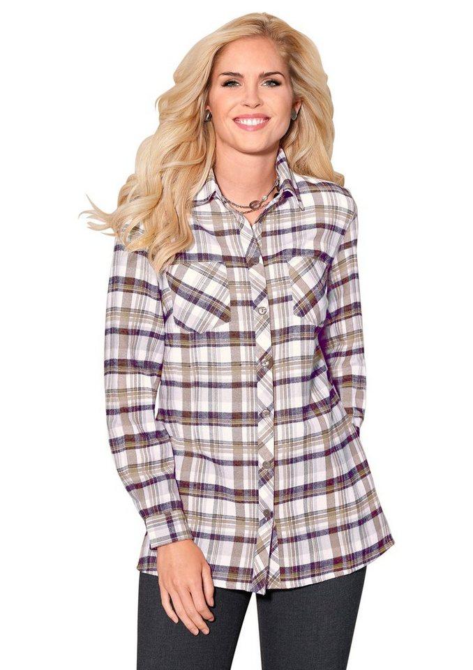 Classic Basics Bluse aus wärmendem Flanell in braun-kariert