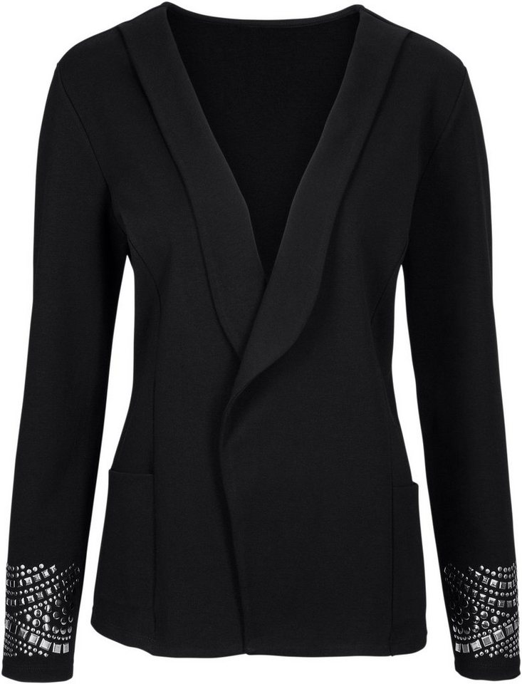 Classic Basics Shirtjacke mit silberfarbigen Zierplättchen in schwarz