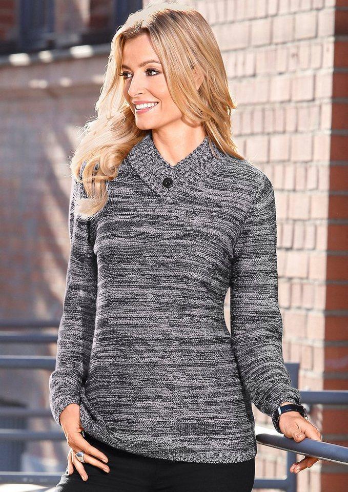 Classic Basics Pullover in besonderer Strickar in weiß-schwarz