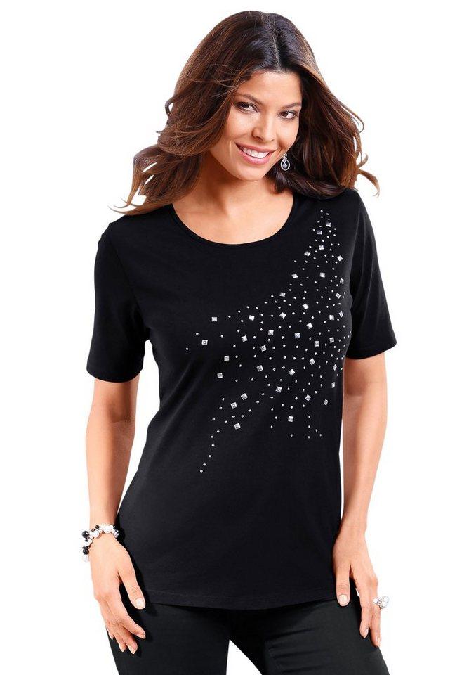 Classic Basics Shirt mit Zierplättchen im Vorderteil in schwarz