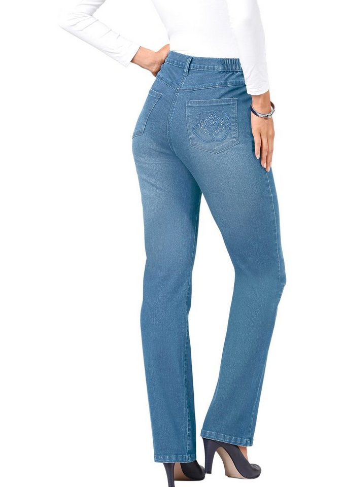 Classic Basics Jeans in 5-Pocket-Form in blue-bleached