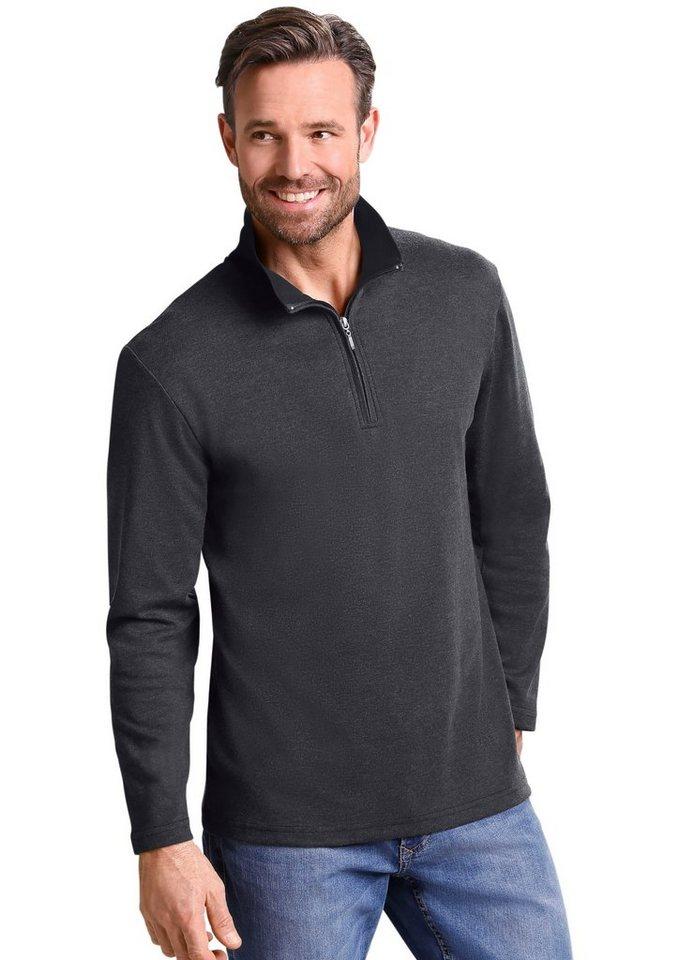 Classic Basics Sweatshirt in Interlock-Qualität in anthrazit-meliert