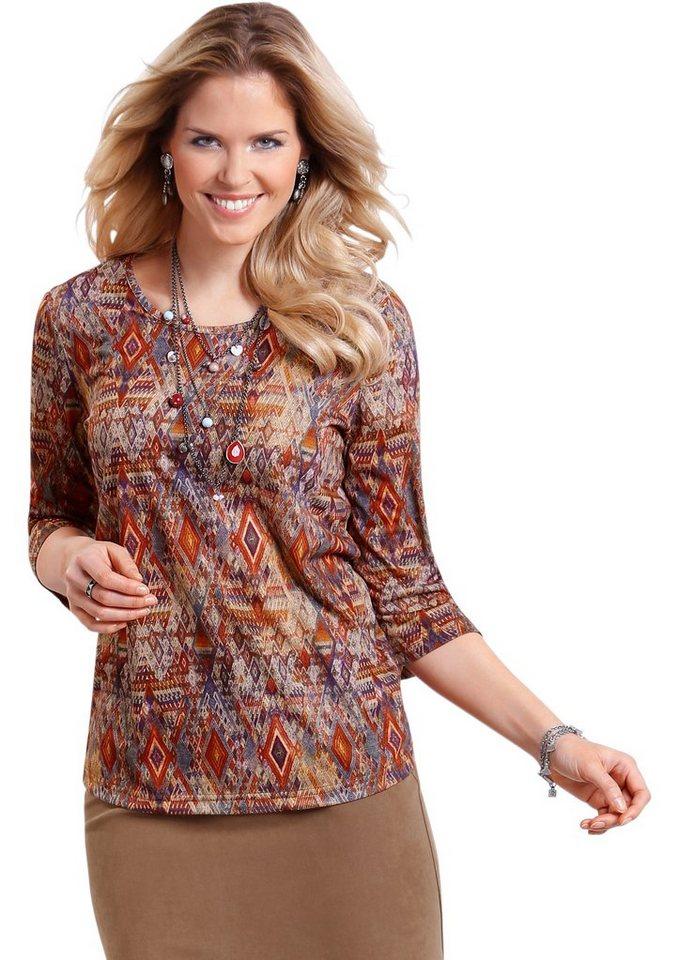 Classic Basics Shirt im topmodernen Ethno-Dessin in bunt-bedruckt