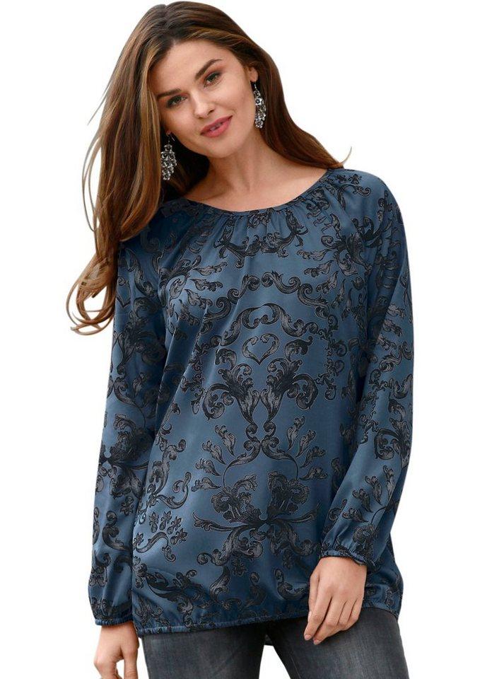 Classic Basics Blusenshirt mit Gummibündchen an Ärmel und Saum in blau
