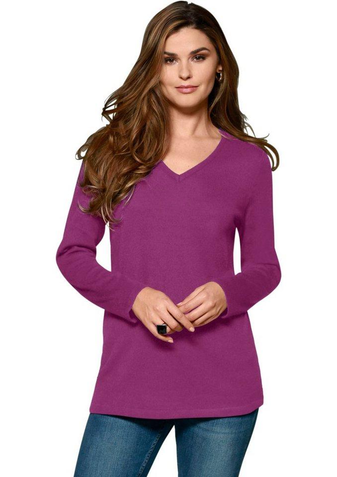Classic Basics Pullover mit Rippbündchen an Ärmeln und Saum in violett