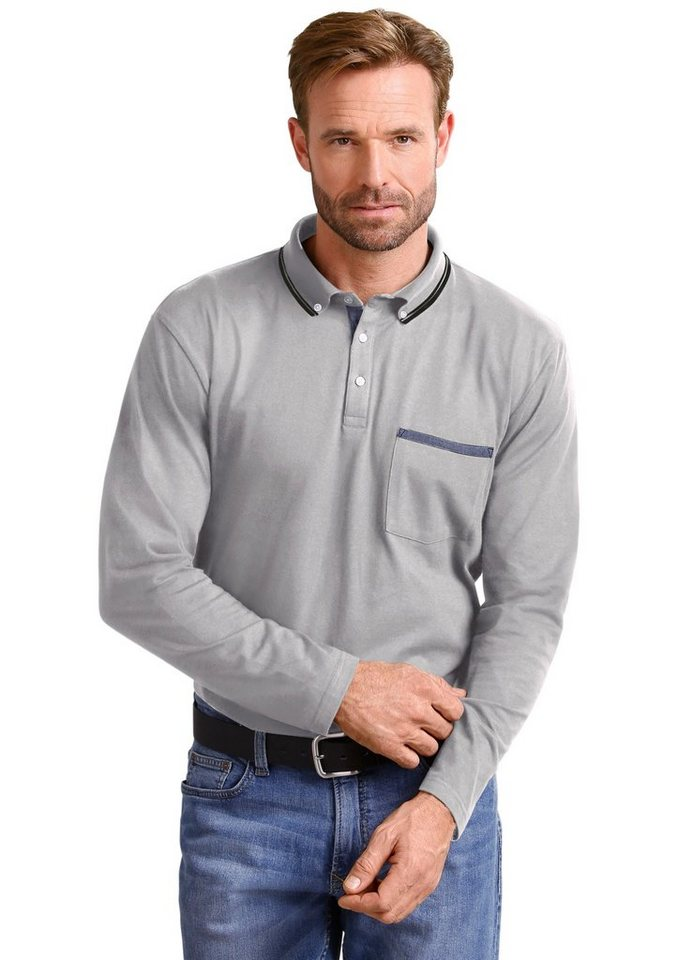 Classic Basics Poloshirt mit kurzer Knopfleiste in grau-meliert