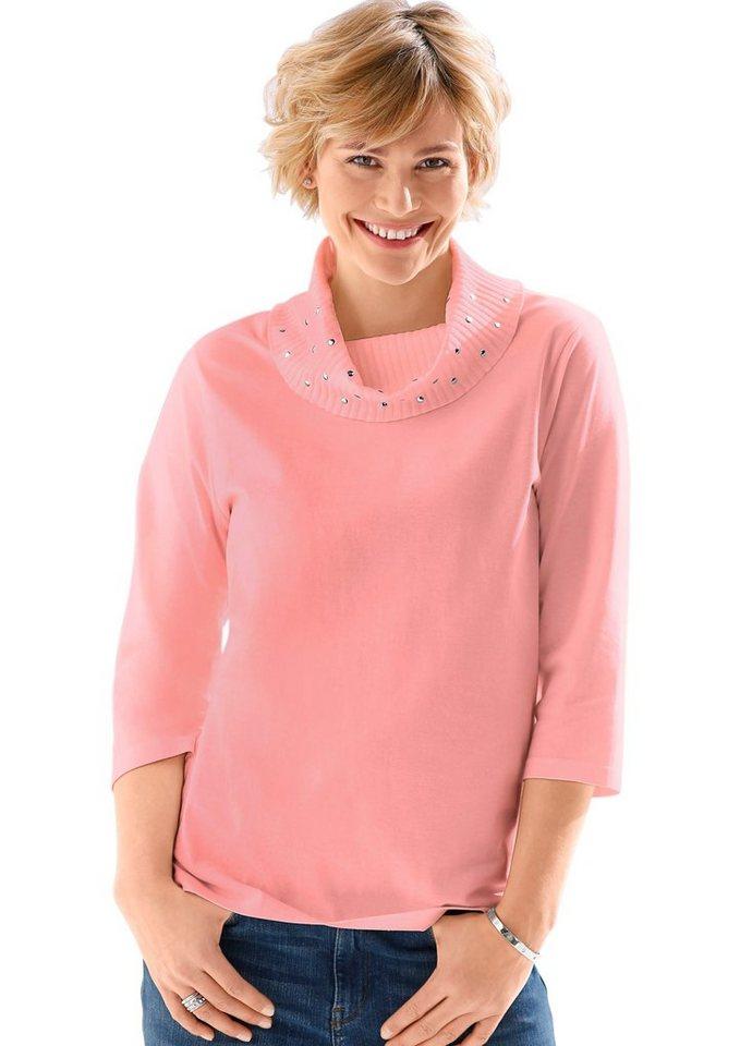 Classic Basics Shirt mit funkelnden Steinchen in rosé