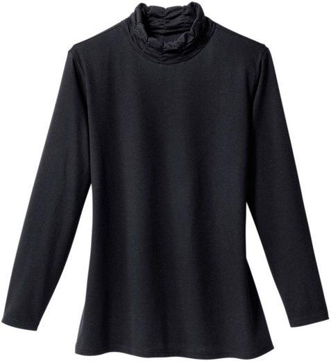 Classic Basics Shirt mit dekorativ gerafftem Stehkragen
