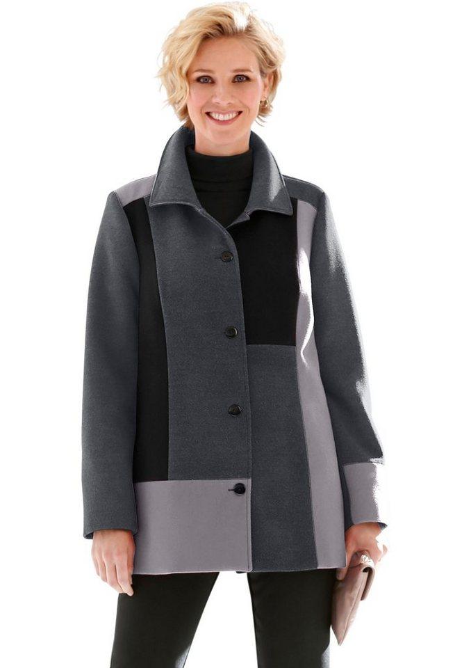 Classic Basics Mantel in modischer Patchwork-Optik in schwarz-silberfarben