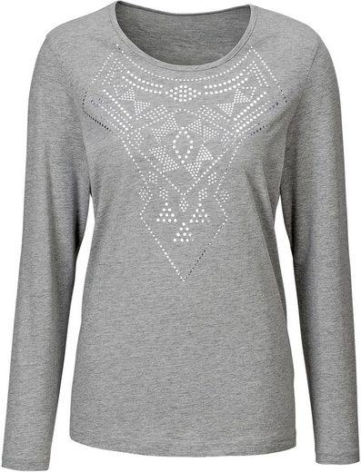 Classic Basics Shirt mit silberglänzendem Druck im Vorderteil