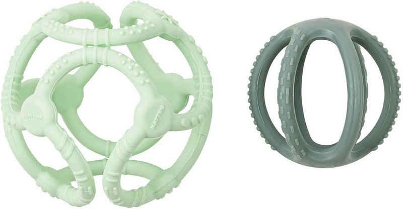 Nattou Greifspielzeug »Silicon, Bälle mintgrün/grasgrün« (Set, 2-tlg), zum Kauen