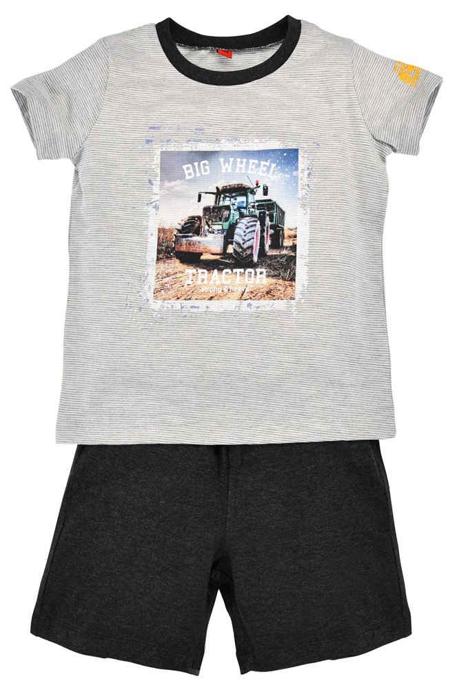 """BONDI Shorty »Kinder Schlafanzug """"Big Wheel"""" für Jungen 33130, Grau Pyjama Trecker Bauernhof«"""