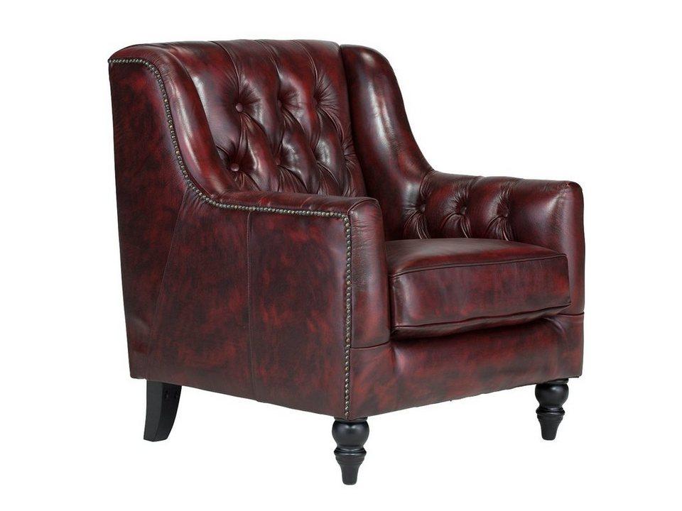 massivum Sessel aus Echtleder »Bozen « in rot